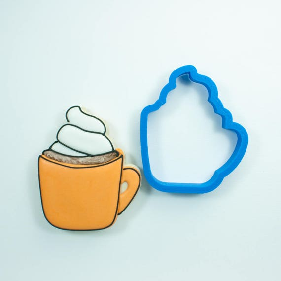 Mug Cookie Cutter | Whipped Cream Mug Cookie Cutter | Coffee Mug Cookie Cutter | Hot Chocolate Cookie Cutter | Frosted Cookie Cutters