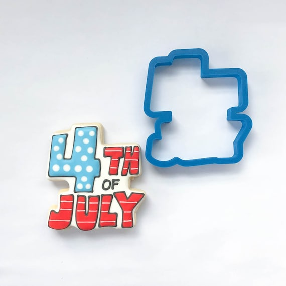 4th of July (words) Cookie Cutter | Rocket Cookie Cutter | Fireworks Cookie Cutter | Plaque Cookies |  4th of July Cookies | Frosted