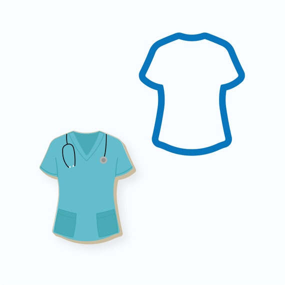 Scrubs Cookie Cutter | T-shirt Cookie Cutter | Nurse Cookie Cutter | Scrubs Top Cookie Cutter | Doctor Cookie Cutter| Medical Cookie Cutter