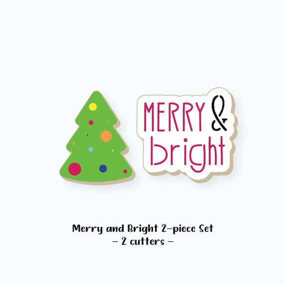 Christmas Cookie Cutters | Merry and Bright Cookie Cutters | Merry and Bright Cookie Cutter Set | Christmas Tree Cookie Cutter | FrostedCo