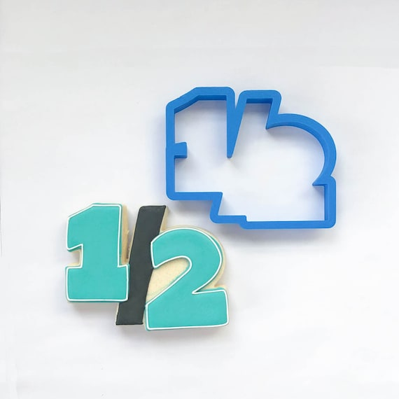 One Half (number) Cookie Cutter | Number Cookie Cutters | 3D Cookie Cutters | Unique Cookie Cutters