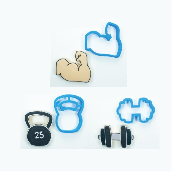 Weight Lifting Cookie Cutters   Weight Lifting Cookie Cutter Set - Kettlebell, Barbell, and Bicep Cookie Cutters   Frosted Cutters
