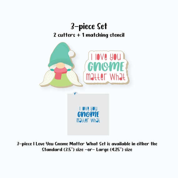 Valentines Cookie Cutters | Gnome and Plaque Cutter Set | Girl Gnome Cookie Cutter | Plaque Cookie Cutter | Valentines Day Cookie Cutters
