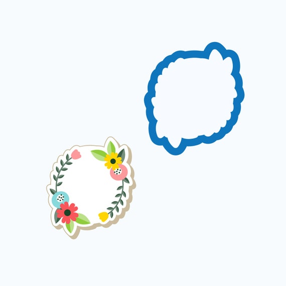 Plaque Cookie Cutter | Circle Floral Plaque Cookie Cutter | Frame Cookie Cutter | Mini Cookie Cutters | FrostedCo