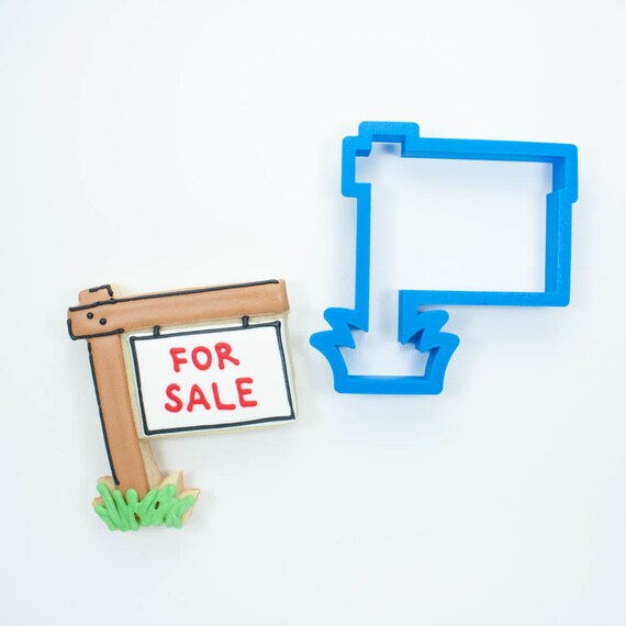 Real Estate Sign Cookie Cutter | For Sale Sign Cookie Cutter | House Cookie Cutter | Real Estate Cookies | For Sale Cookies | Frosted Cutter