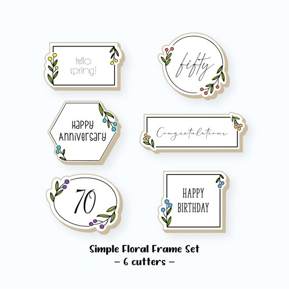 Plaque Cookie Cutter | Simple Floral Plaque Cookie Cutter Set | Frame Cookie Cutters | Mini Cookie Cutters | FrostedCo