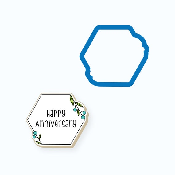 Plaque Cookie Cutter   Simple Hexagon Floral Plaque Cookie Cutter   Frame Cookie Cutter   Mini Cookie Cutters   FrostedCo