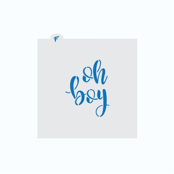 Baby Stencil | Oh Boy Plaque Stencil | Cookie Stencil | Baby Shower Stencil | Baby Cookie Stencil | Oh Boy Word Stencil | FrostedCo