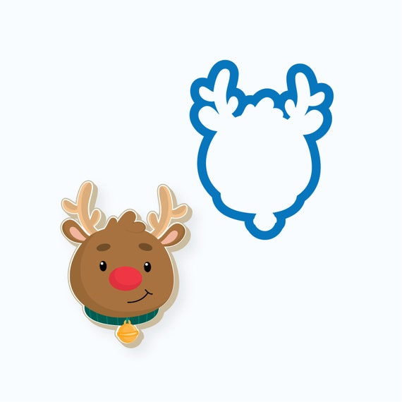 Reindeer Head with Bell Cookie Cutter