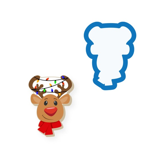Reindeer Head with Scarf Cookie Cutter