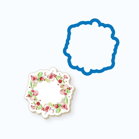 Modern Floral Wreath Cookie Cutter
