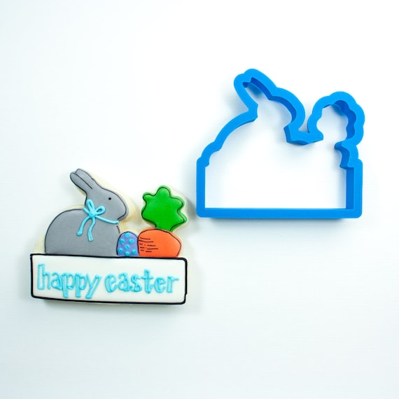 Bunny and Carrot Plaque Cookie Cutter | Easter Bunny Cookie Cutters | Easter Cookie Cutters | Plaque Cookie Cutters | Mini Cookie Cutters