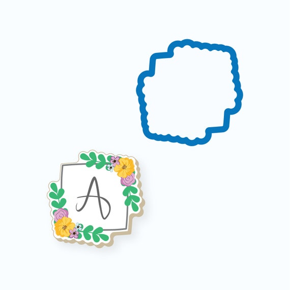 Plaque Cookie Cutter | Chubby Square with Greens Pair Plaque Cookie Cutter | Frame Cookie Cutter | Mini Cookie Cutters | FrostedCo