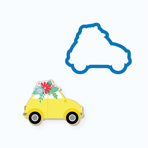 Car with Flowers Cookie Cutter | Valentine Cookie Cutter | Car Cookie Cutter | Spring Cookie Cutters | Unique Cookie Cutters | FrostedCo