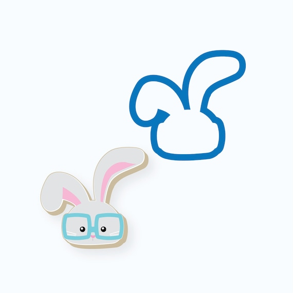 Easter Bunny Cookie Cutter | Bunny with Glasses Cookie Cutter | Easter Cookie Cutter | Bunny Cookie Cutter | Spring Cookie Cutter | Frosted