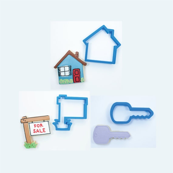 Real Estate Cookie Cutter Set - Real Estate Sign, House, and Key Cookie Cutters