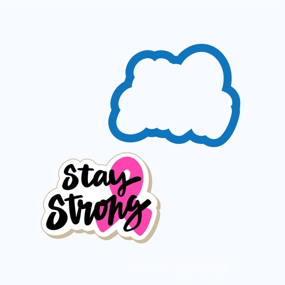 Stay Strong Plaque with Ribbon | Plaque Cookie Cutter | Plaque Cookies | Encouragement Cookies | Cancer Awareness | Frosted