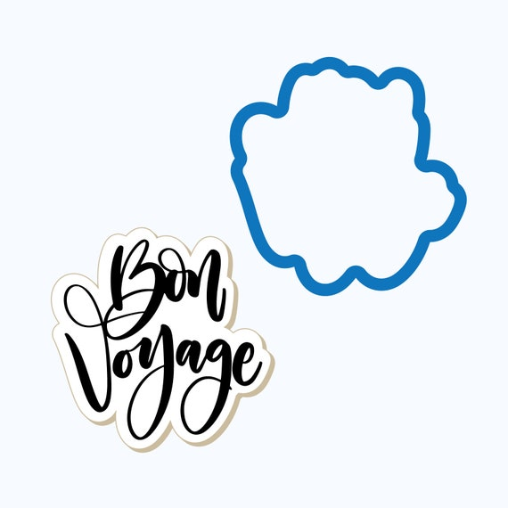 Bon Voyage Plaque Cookie Cutter | Travel Cookie Cutter | Plaque Cookies |  Vacation Cookies | Frosted