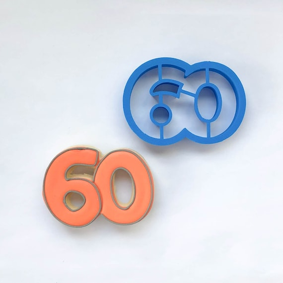 Number 60 Cookie Cutter | Sixty Cookie Cutter | Number Cookie Cutters | Birthday Cookie Cutters | Unique Cookie Cutters