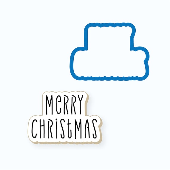 Christmas Cookie Cutter   Simple Merry Christmas Plaque Cookie Cutter   Christmas Plaque Cookie Cutter   Winter Cookie Cutter   FrostedCo