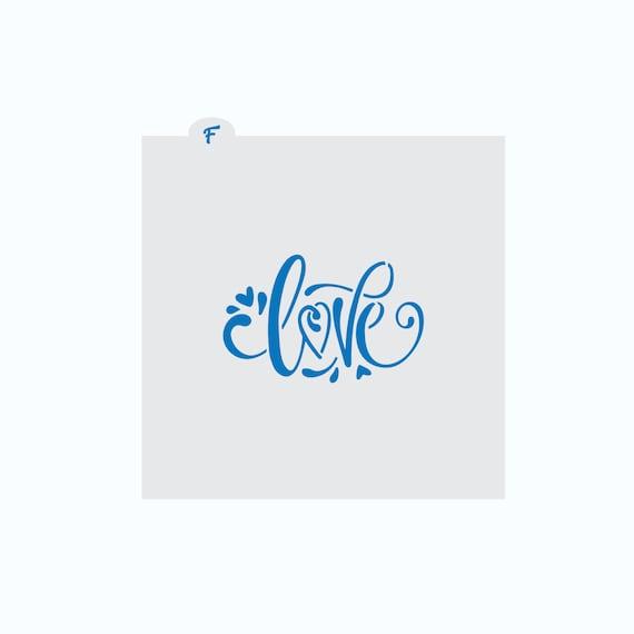Love Cookie Stencil | Love Plaque Stencil | Cookie Stencil | Bridal Shower Cookie Stencil | Wedding Cookie Stencil | Hand Drawn Love Stencil