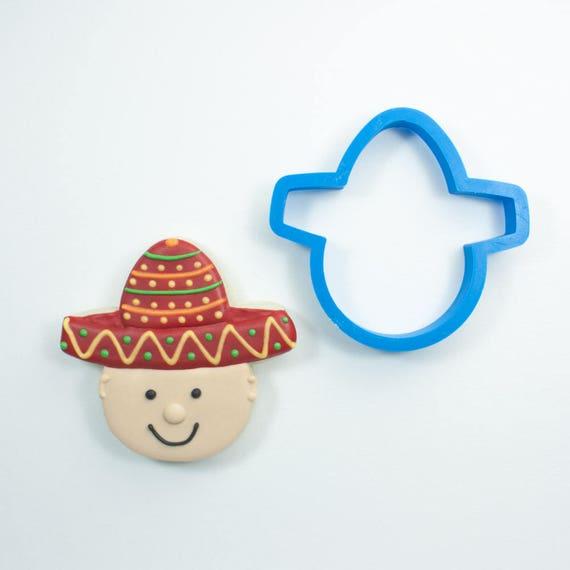 Sombrero with Head Cookie Cutter | Sombrero Cookie Cutter | Mini Cookie Cutters | Unique Cookie Cutters | Cinco De Mayo Cookie Cutter