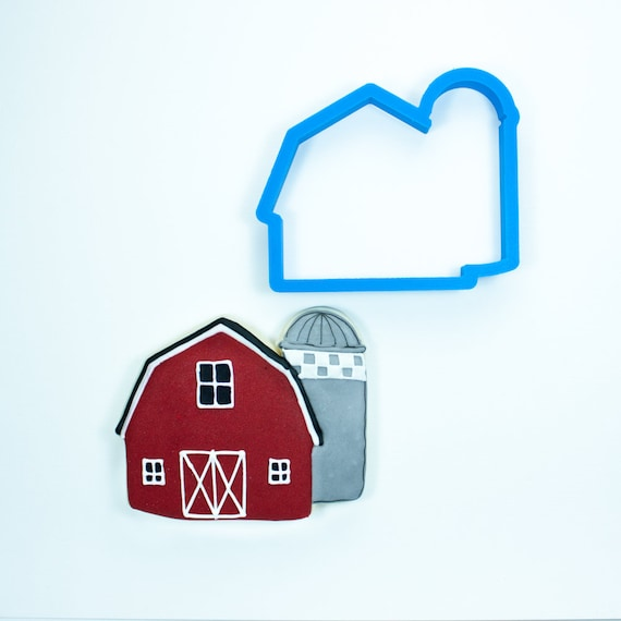 Barn Cookie Cutter | Barn with Silo Cookie Cutter | Farm Cookie Cutters | Birthday Cookie Cutters | Animal Cookie Cutters | Frosted Cutters