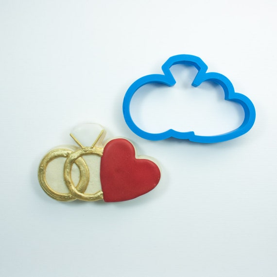 Wedding Ring Pair with Heart Cookie Cutter   His and Hers Rings   Ring Pair Cookie Cutter   Wedding Cookie Cutters   Engagement Cookies