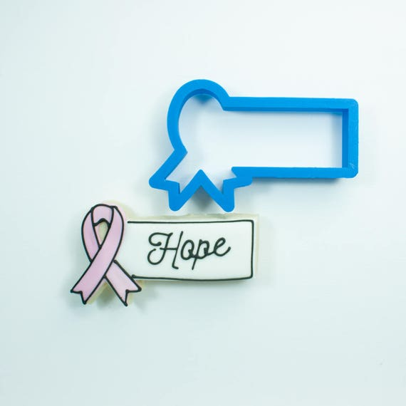 Awareness Ribbon Plaque Cookie Cutter | Ribbon Plaque Cookie Cutter | Awareness Cookie Cutter