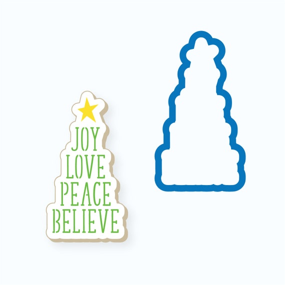 Christmas Cookie Cutter   Joy Love Peace Believe Plaque Cookie Cutter   Christmas Plaque Cookie Cutter   Winter Cookie Cutter   FrostedCo