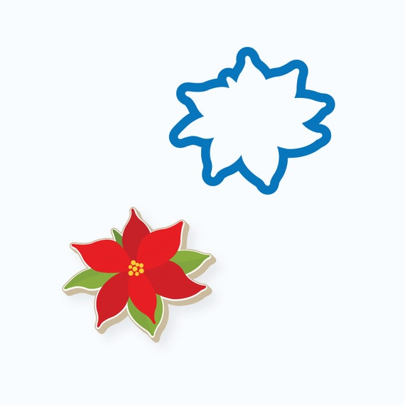 Poinsettia Cookie Cutter | Simple Poinsettia Cookie Cutter | Christmas Cookie Cutter | Flower Cutter | Winter Cookie Cutter | Frosted Cutter