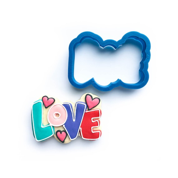 Love Cookie Cutter | Love (word) With Hearts Cookie Cutter | Valentine Cookie Cutter | Valentines Cookie Cutter | Unique Cookie Cutters