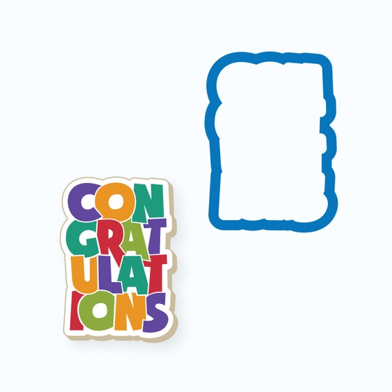 Congratulations Cookie Cutter | Congratulations Plaque Cookie Cutter | Congrats Cookie Cutter | Plaque Cookie Cutter | FrostedCo
