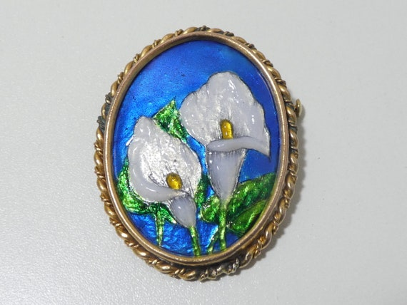 Vintage Antique Limoges Enamel Brooch Pin Plaque L