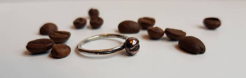 Stacking ring sterling silver wire coffee bean ring stocking filler gift for her PMC precious metal clay Size N copper and bronze