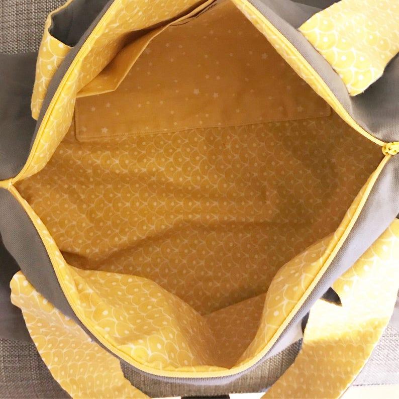cotton fabric Diaper bag ball bag 40 cm applique name. zipper closure customizable Travel bag Ingrid