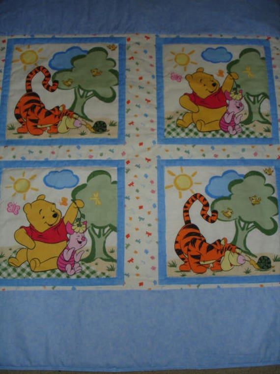 OOAK Vintage Winnie The Pooh Quilt Baby Blanket Bedding Eeyore Piglet Woods