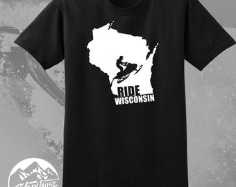 8cecd166 Snowmobile Ride Wisconsin Shirt, Black Short Sleeve, SledHouse Designs,  Snowmobile Tees, Custom Apparel for Men Ladies and Kids