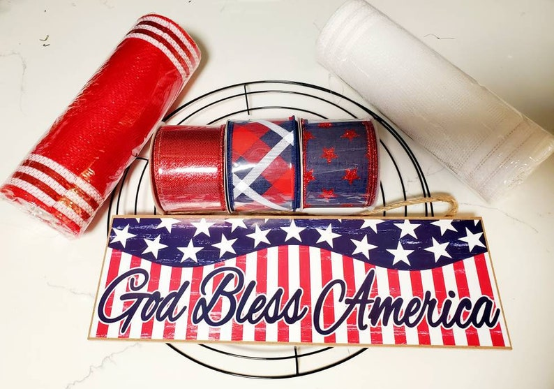 God bless America wreath kit red white and blue wreath kits 4th of July wreath kit wreath kits Patriotic wreath kit