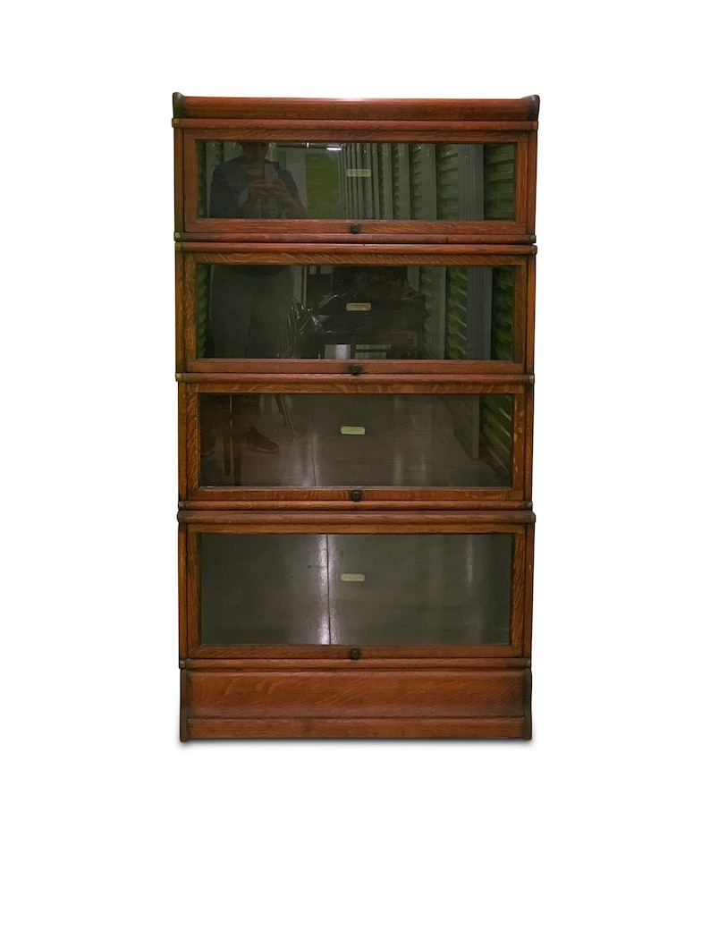Globe Wernicke Of London Labelled Sectional Oak Tiered Glazed Bookcase With Four Tiers Modular Barrister S 1910 Read Shipping Info
