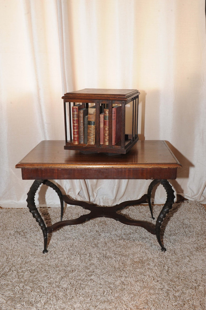 Victorian Mahogany Revolving Tabletop Desktop Bookcase Read Shipping Info