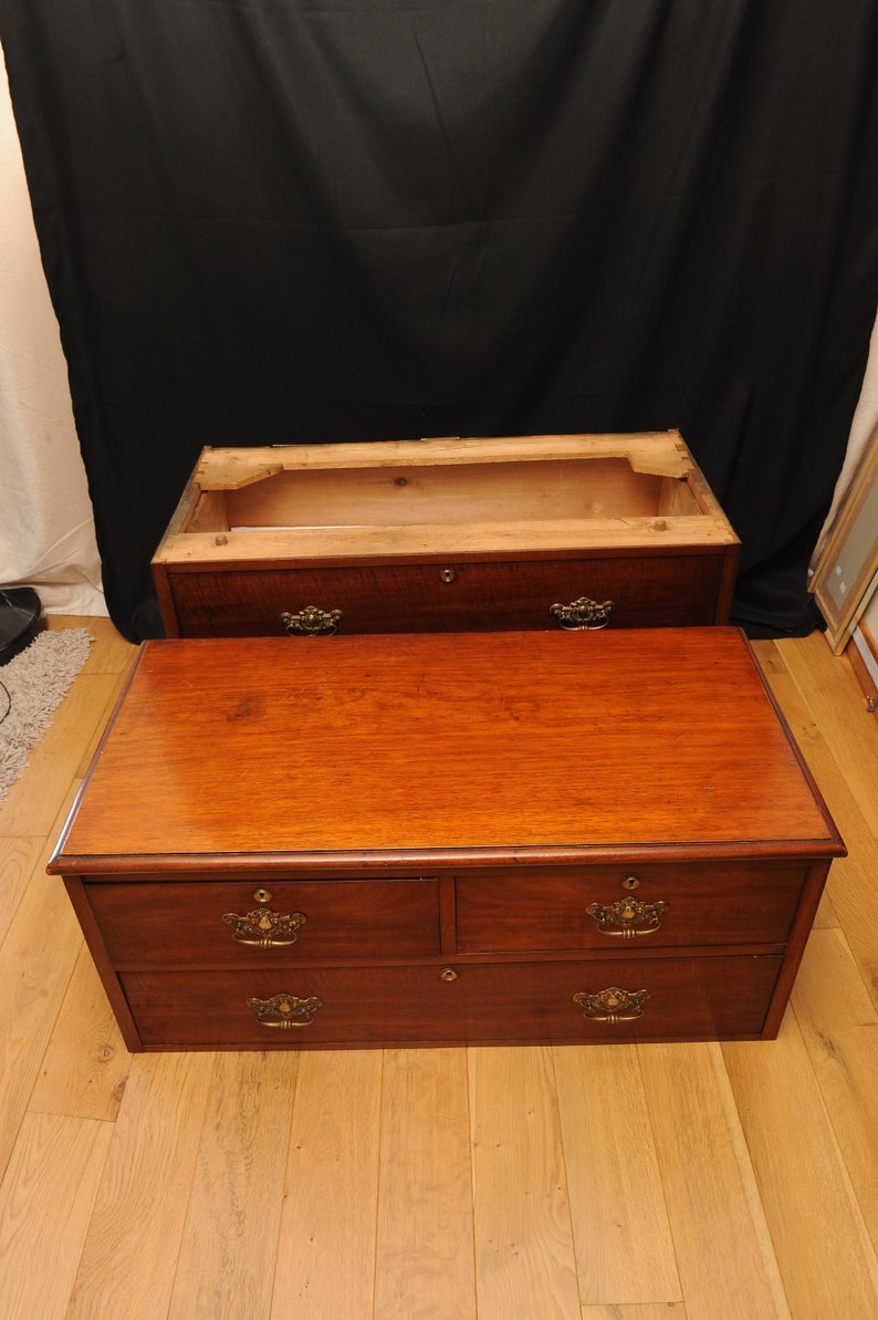 Georgian Military Campaign Teak Chest in two sections with brass embossed batwing brass handles and dovetail joints Read Shipping Info