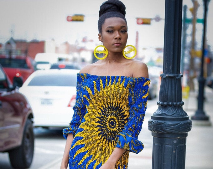 Featured listing image: Ankara Off the Shoulder Fitted Dress
