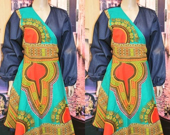 Denim Dashiki Print Wrap Dress