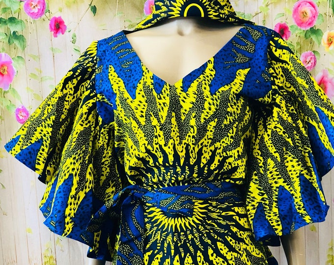Eye Of The Sun Flared Sleeves Dress With Headwrap