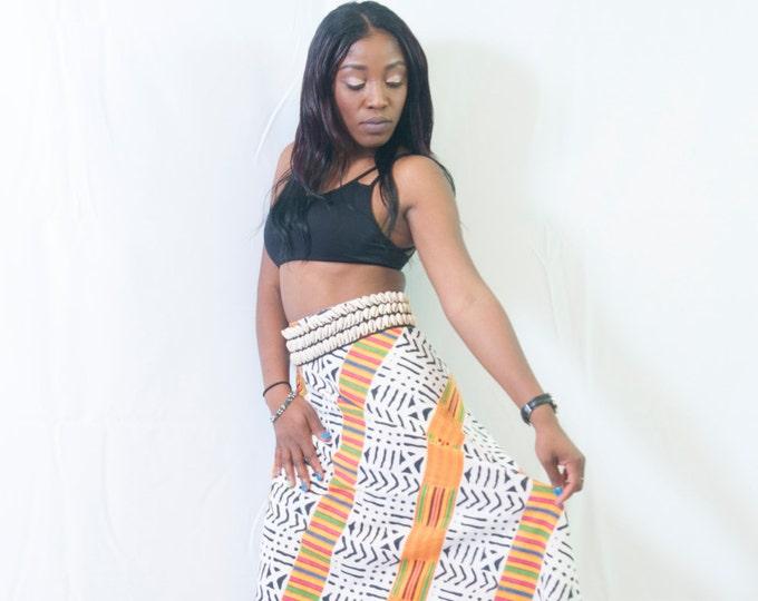 Mud Print and Kente Wrap Skirt
