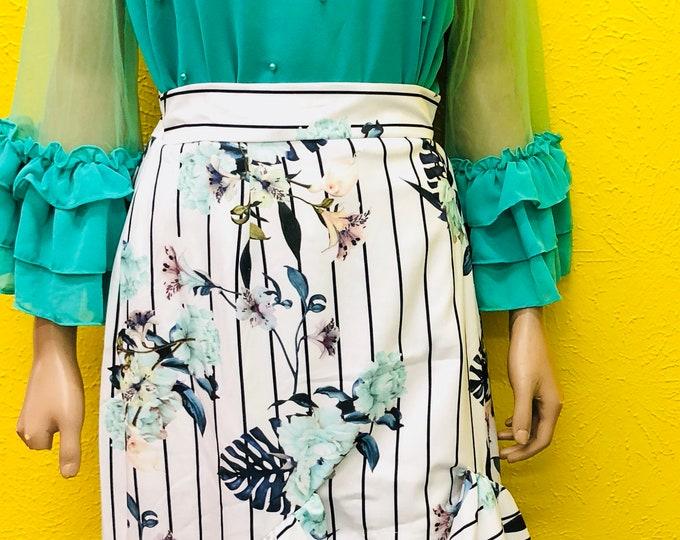 Floral Ruffle Hi-low Skirt