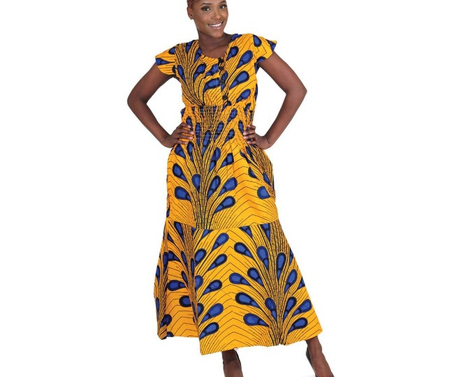 Ankara  Button Front Smocked Flare Dress