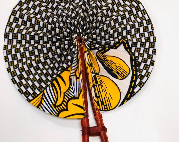 African Print Hand Folding Fan