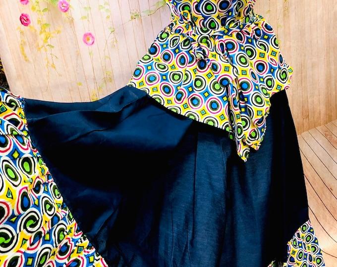 Denim with Ankara Trim Skirt